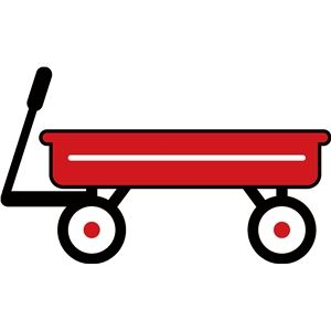 Small wagon. Red little toy