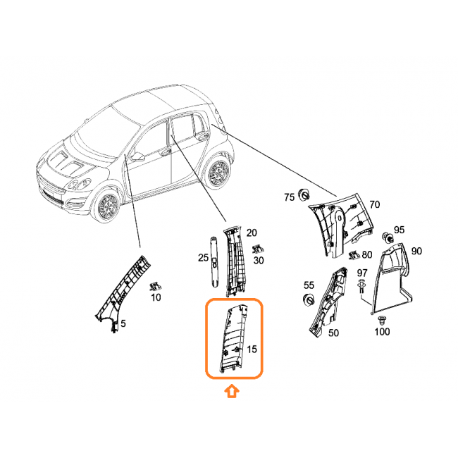 Smart drawing side view. Forfour cover b pillar