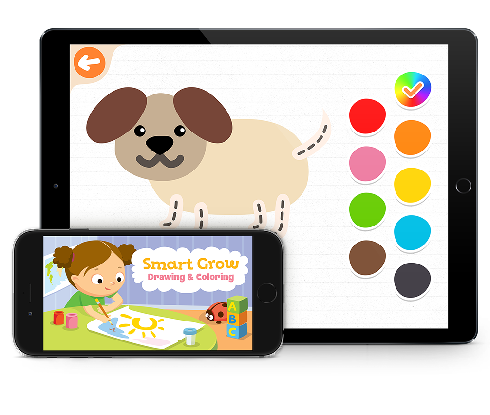 Smart drawing cool animal. Grow coloring applications apps