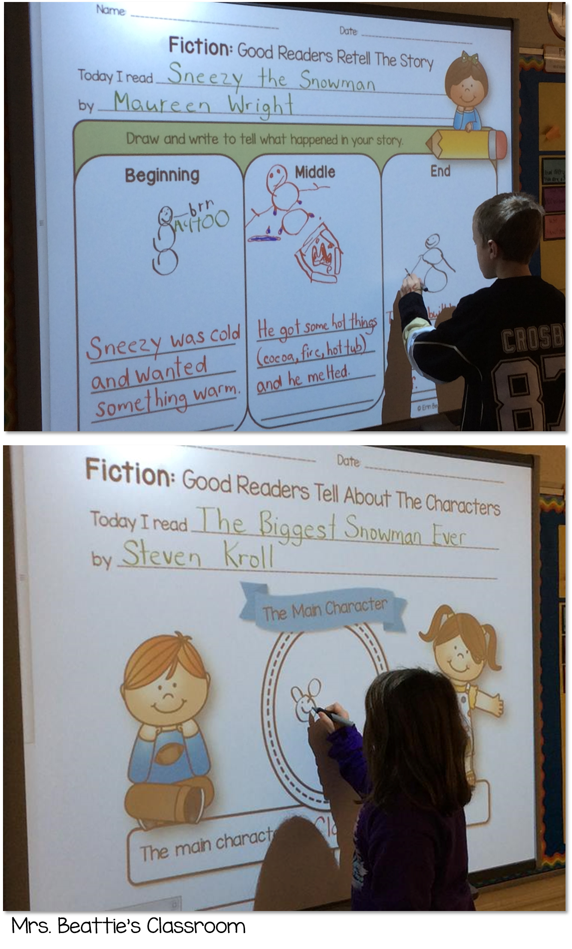 Smartboard drawing classroom. Teaching students to respond