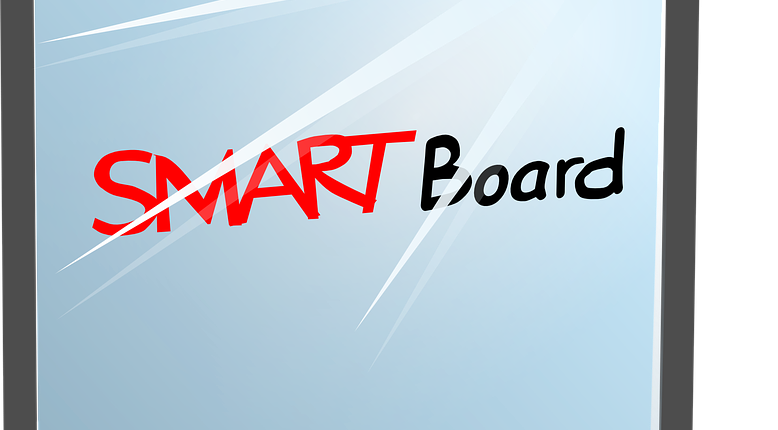 Smartboard drawing classroom. Interactive white boards in