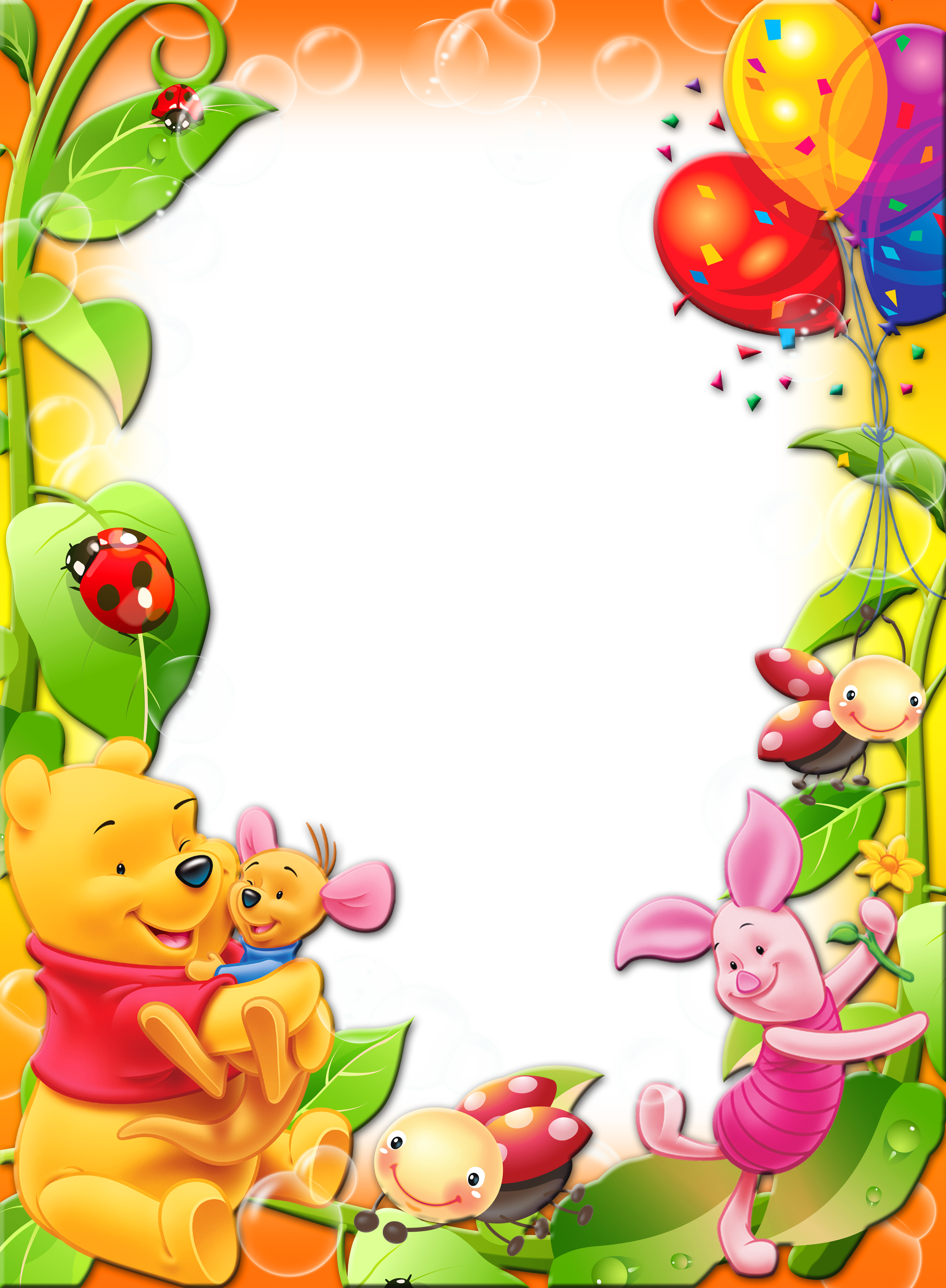Kids border png. Winnie pooh frames clipart