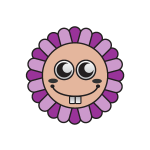Smile clipart purple. Flower smiling sun with