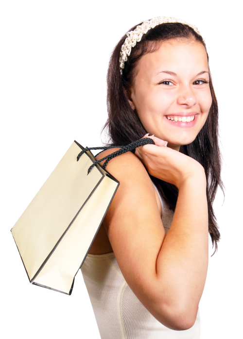 Woman shopping png. Happy smiling hold bag