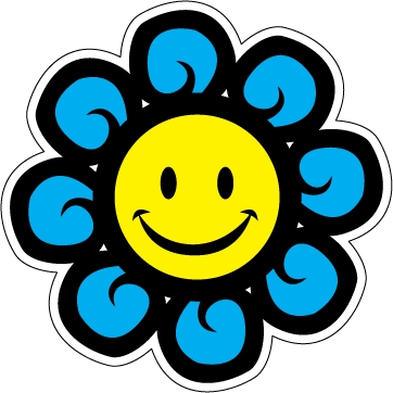Smiley clipart car. Flower face magnet cliparts