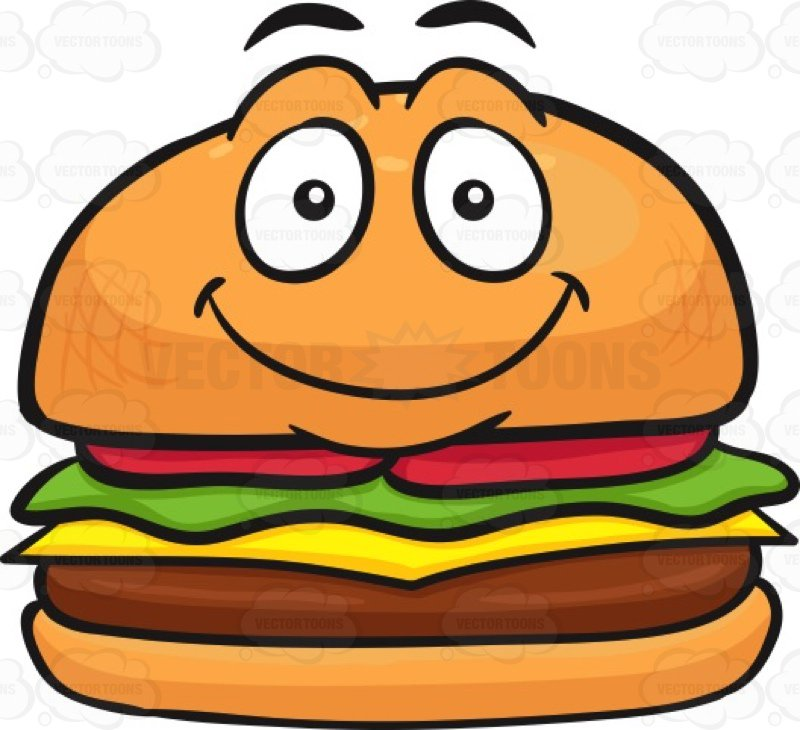 Smiley clipart food. Hamburger with a face clipart library stock