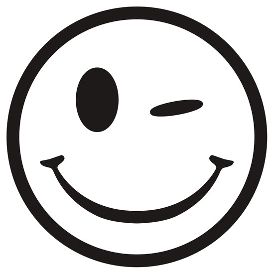Smiley clipart outline. Winking face black and svg black and white library
