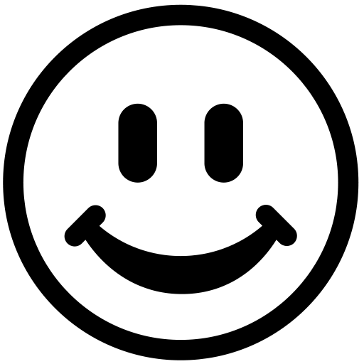 Happy face black and. Smiley clipart outline transparent stock