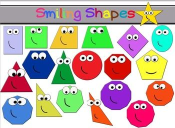 Smiley clipart shape. Smiling shapes maths by