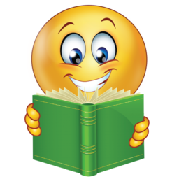 Smiley clipart study. Successful student with book