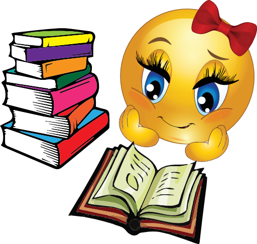 Study girl smiley emoticon. Studying clipart graphic royalty free library