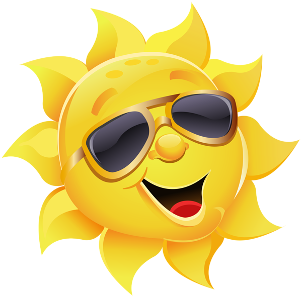 Smiley clipart summer. Sun with sunglasses png