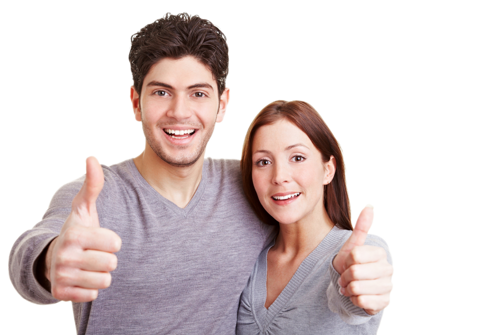Smiling couple png. Bigstock happy holding thumbs