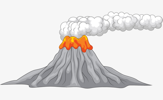 Smoke clipart lava. Live volcano cartoon material