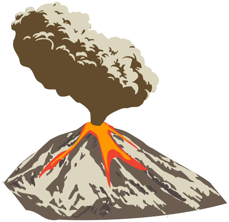 Smoke clipart lava. Erupting volcano with ash