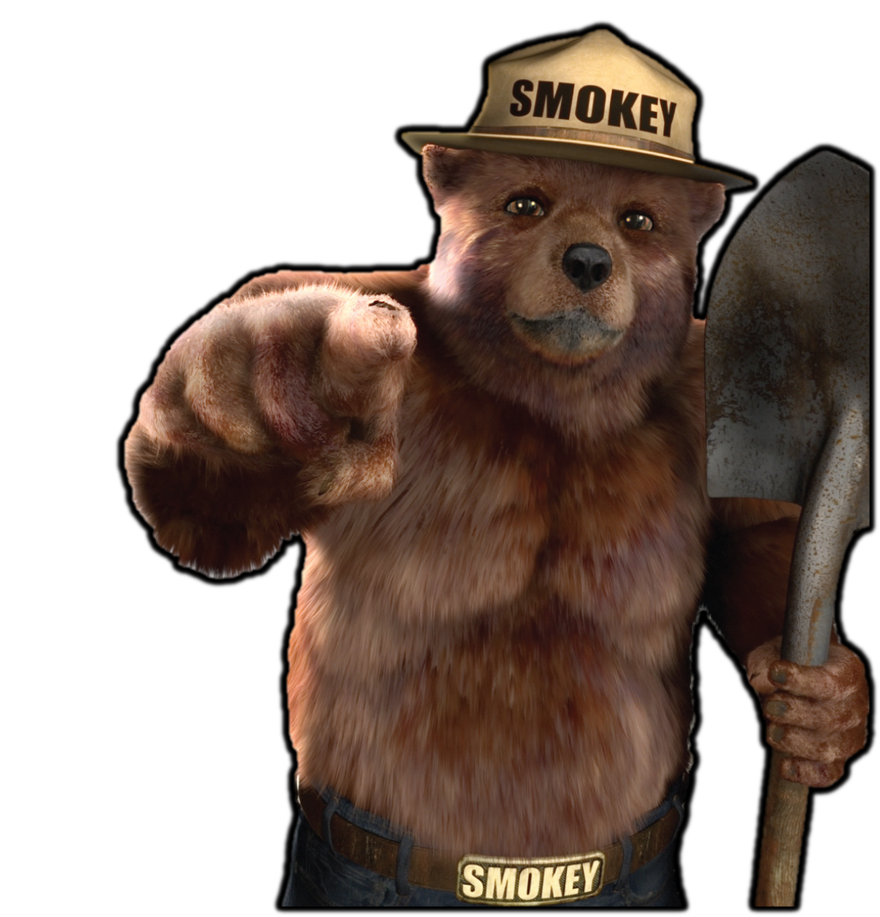 Smokey the bear png. Image disturbingly realistic death