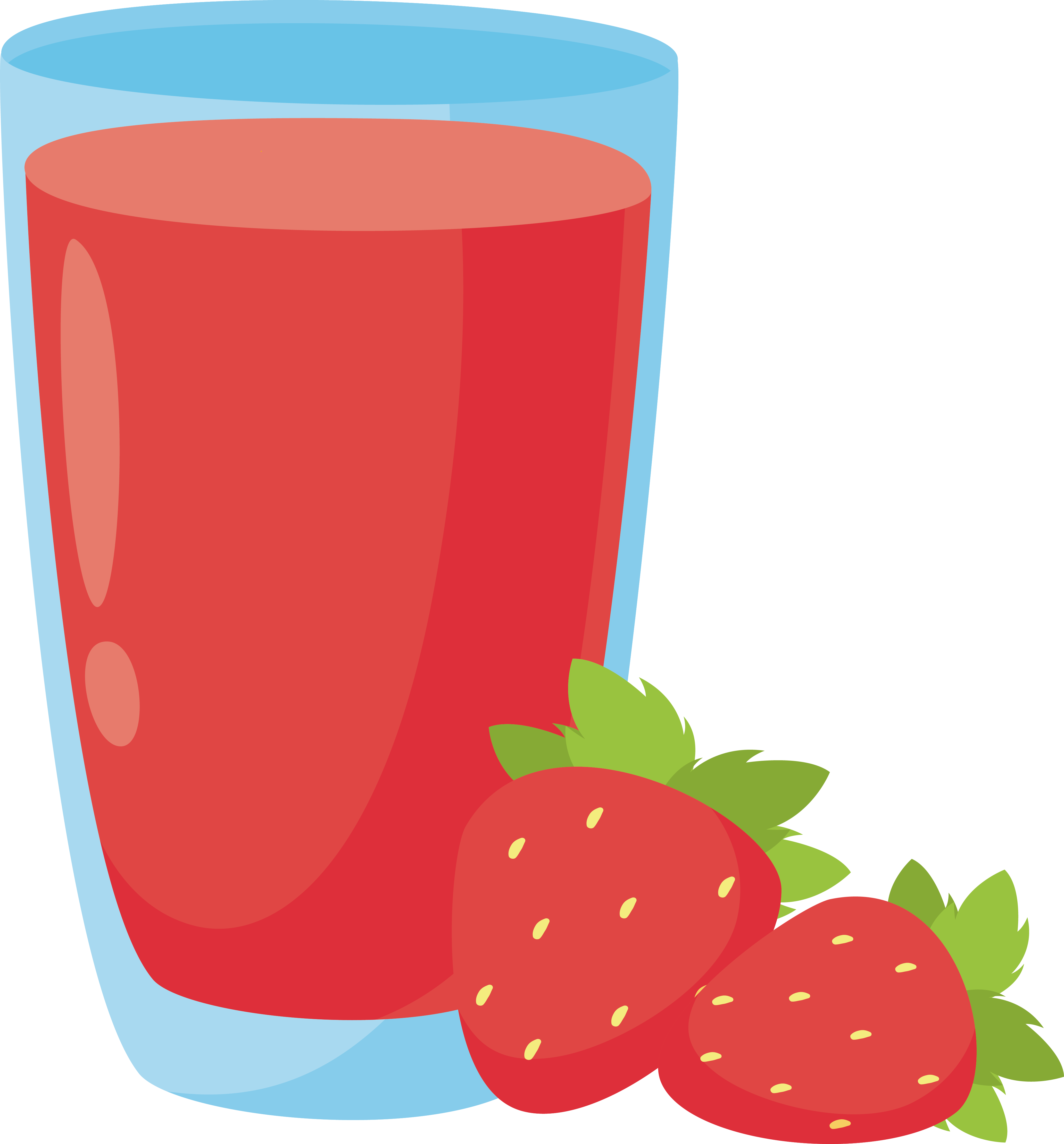 Smoothie vector clipart. Banana strawberry colored artwork