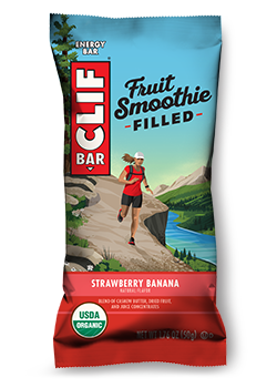 Smoothie vector flat strawberry. Clif banana flavor packaging
