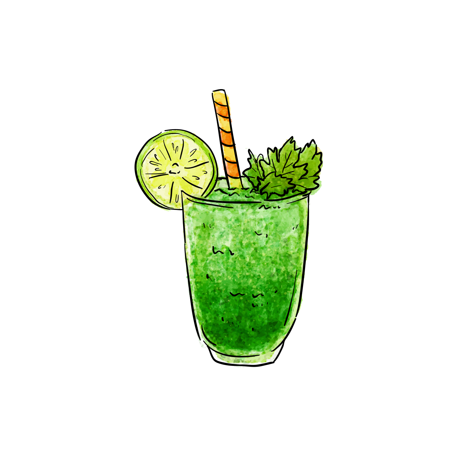 Smoothie vector green. Juice cup ingredient with