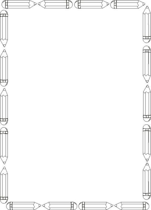 Snacks clipart border. Pencil drawing stationary boarder