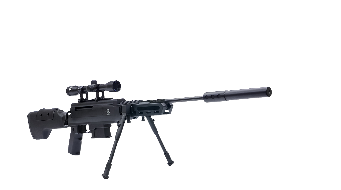 Transparent rifle airsoft. Sniper with scope and