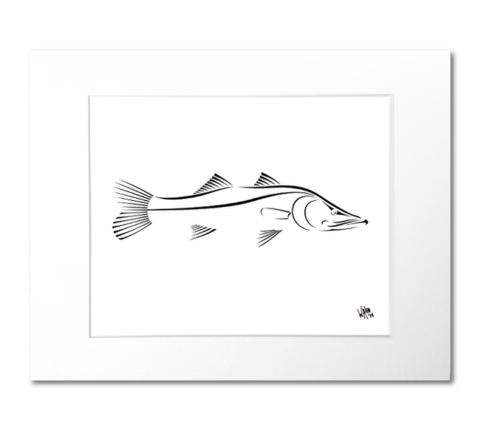 Snook drawing design. Art print black and