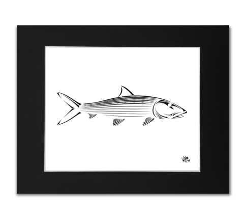 Snook drawing tribal. Art print shark zen