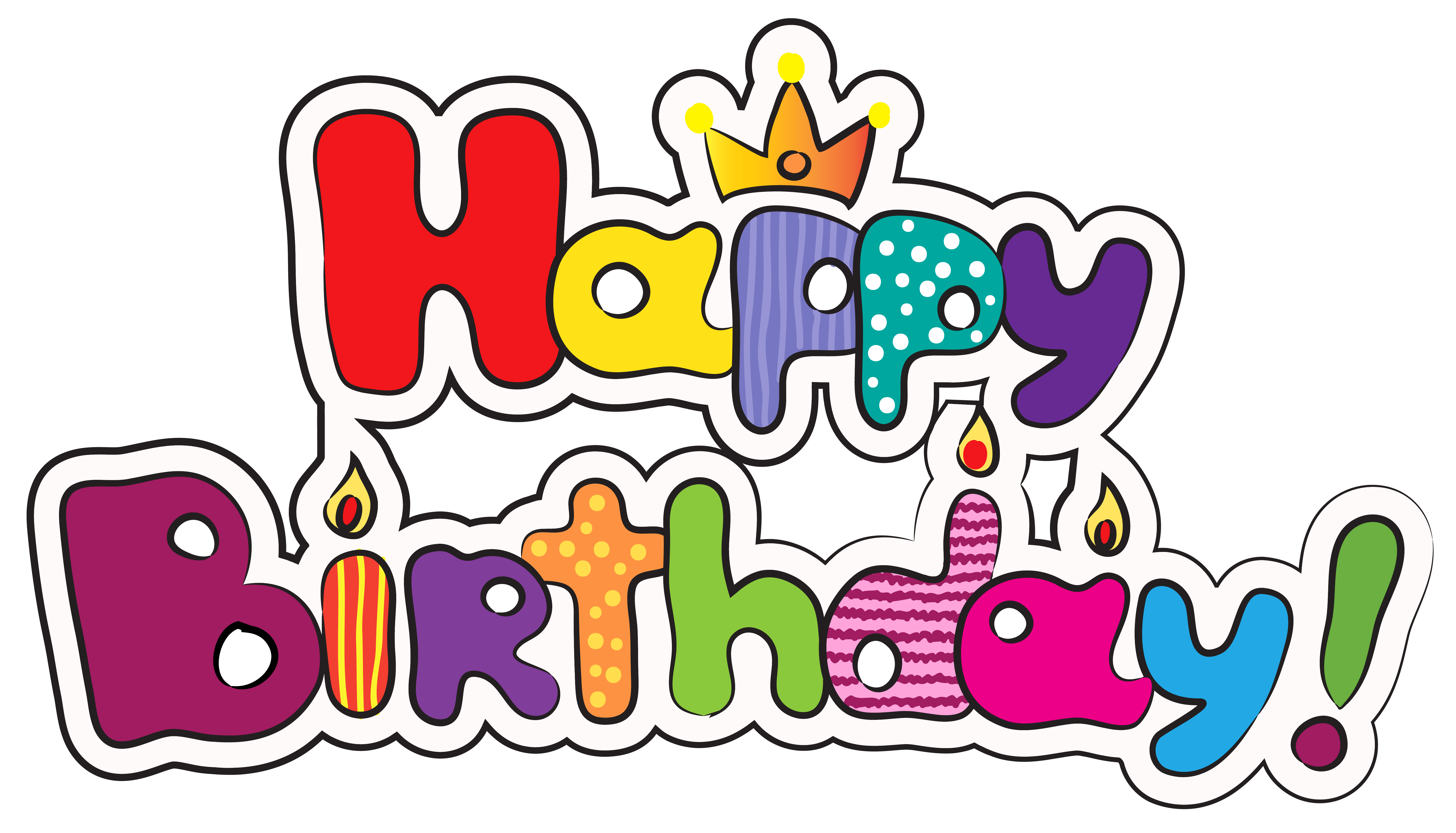 Colorful happy clipart image. Birthday png images svg freeuse download