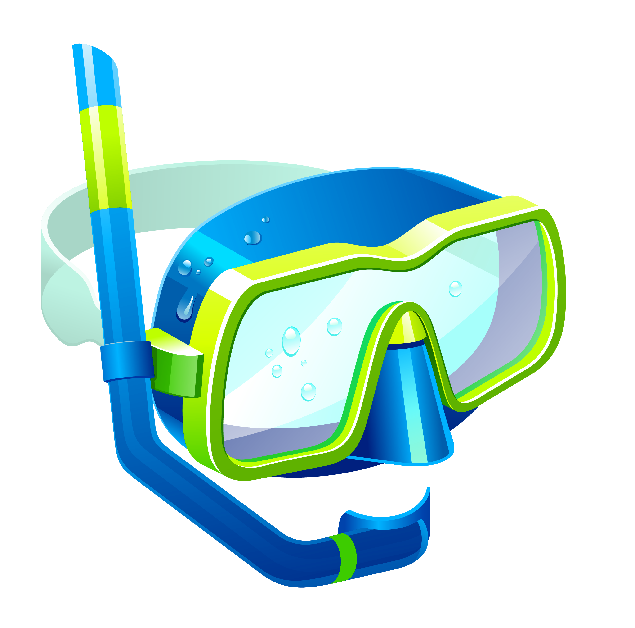 Snorkel clip. Transparent blue mask png