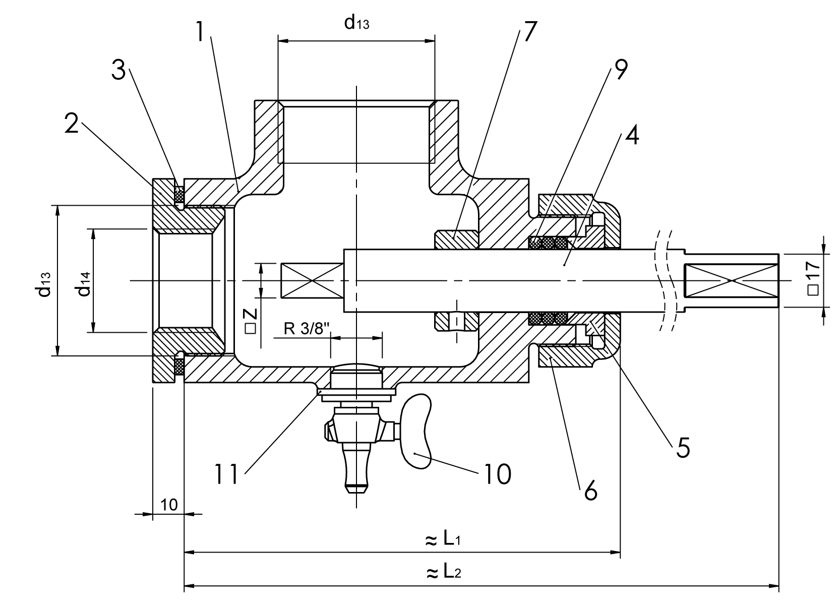 Snorkel drawing drainage pipe. Oil drain device type
