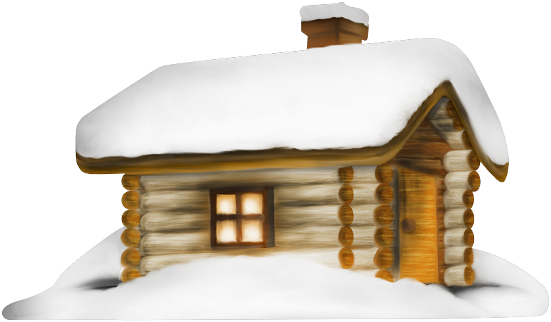 Cottage clipart silhouette. Transparent winter house with