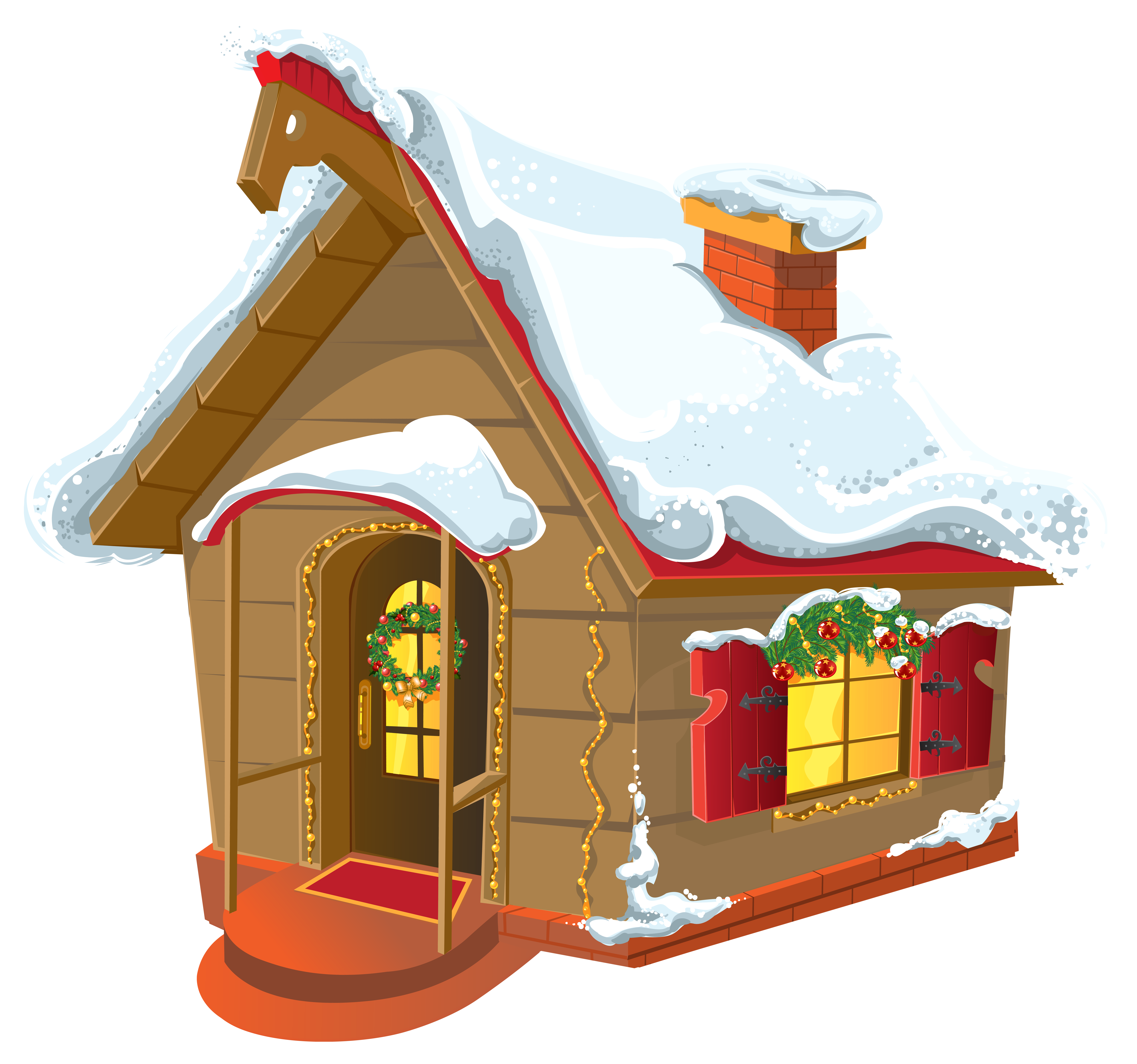 Bird little covered snow. Cottage vector winter house clip transparent library