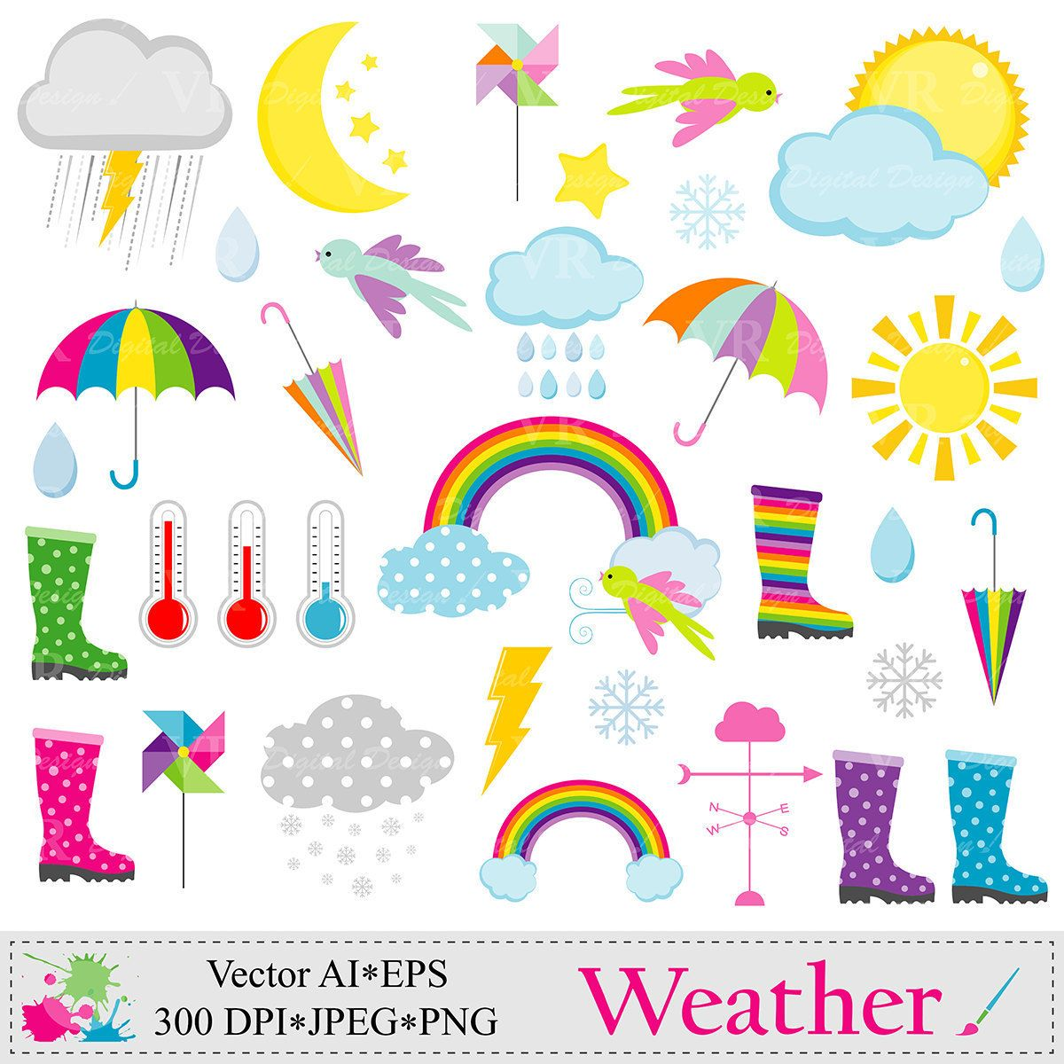 Weather clip art clouds. Snow clipart rain png black and white library