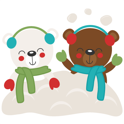 Snow svg clip art. Christmas bears in scrapbook
