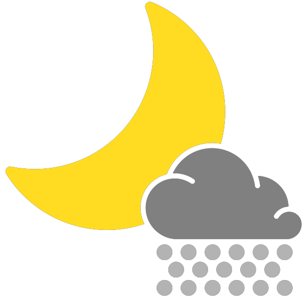 Snow svg weather icon. Simple icons scattered night