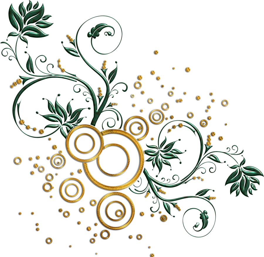 Vector swirl png. Leaves and swirls by