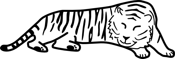 Snowboard clipart outline. Sleeping tiger