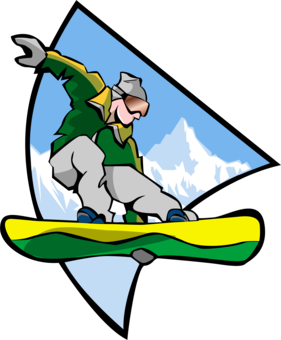 Snowboarder drawing ski. Kids snowboarding log skiing