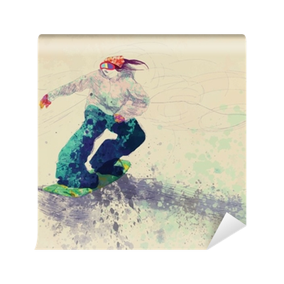 Snowboarding drawing. Snowboarder hand wall mural