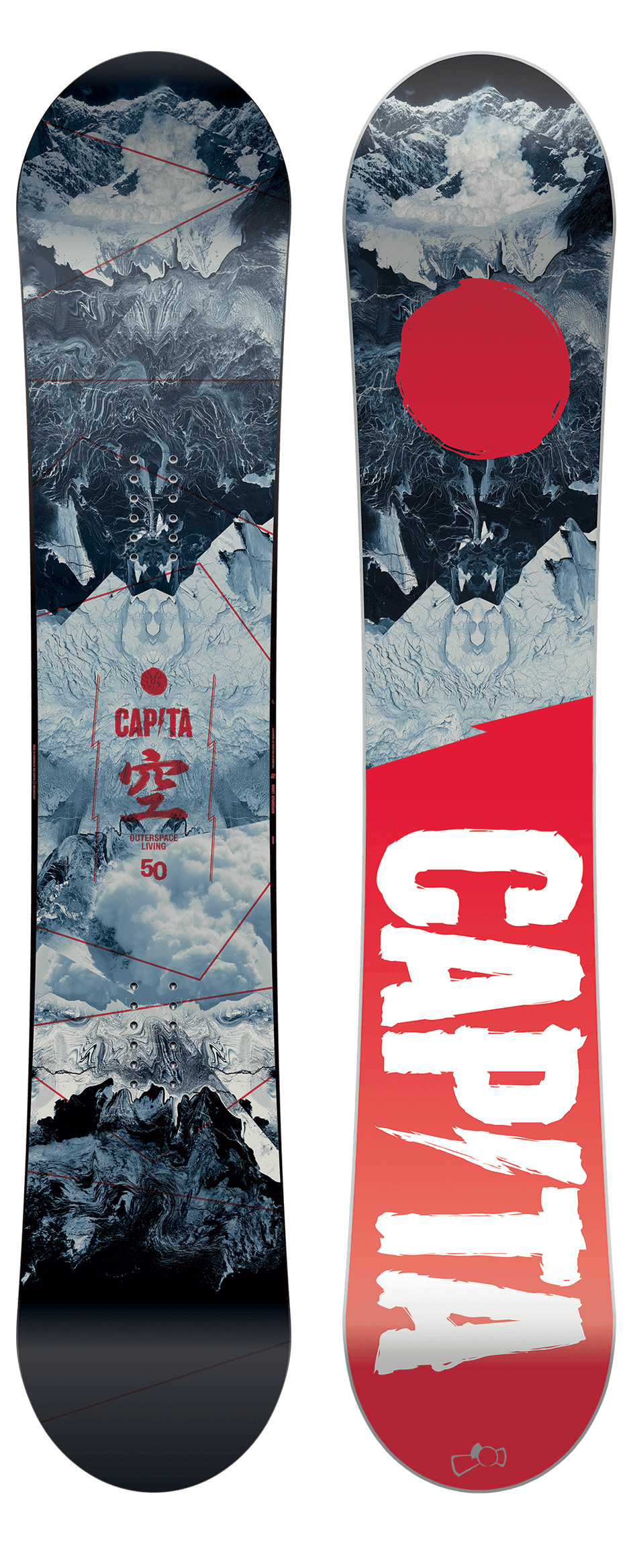 Snowboarding drawing sport. Capita outerspace living snowboard