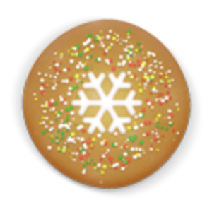 Vector glitter round. Christmas cookie clipart house