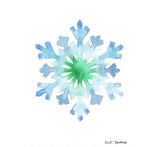 Snowflakes clipart watercolor. Snowflake pencil and in
