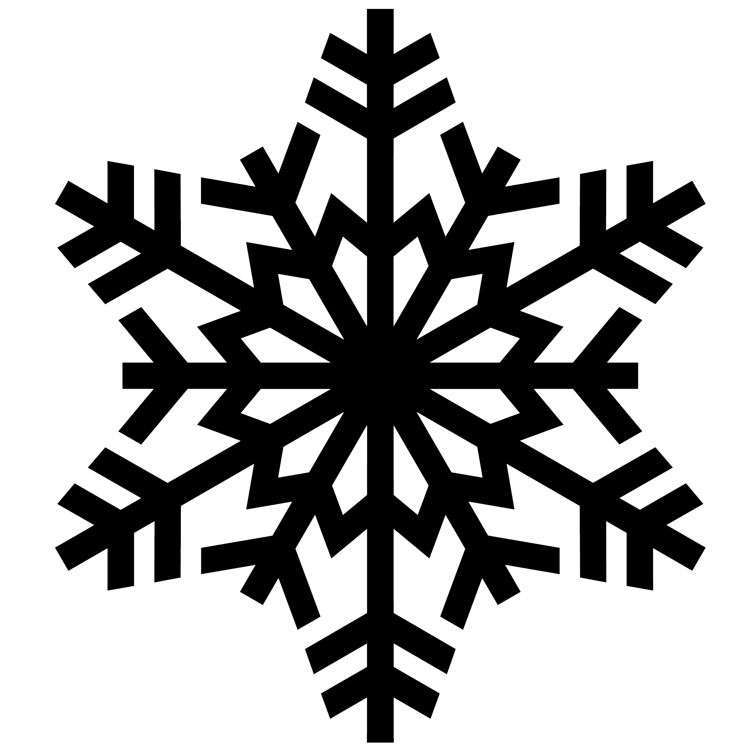 snowflakes clipart black and white