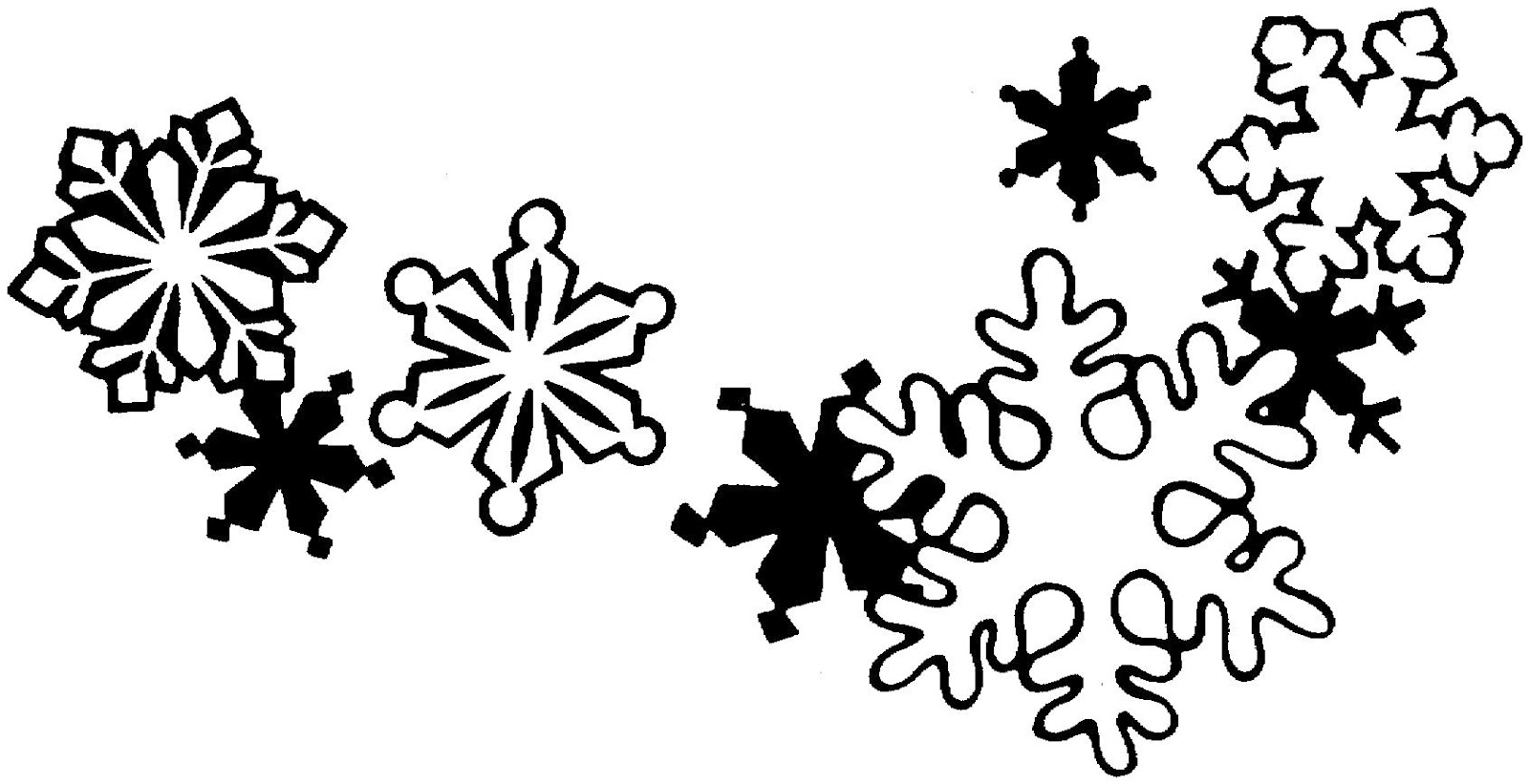 Snowflakes clipart. Snowflake black and white