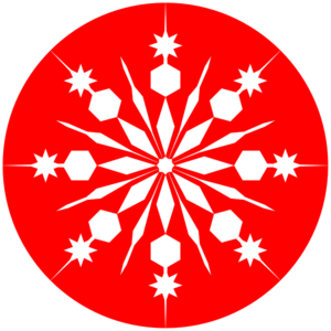 Snowflakes clipart circle. Snowflake on red clip
