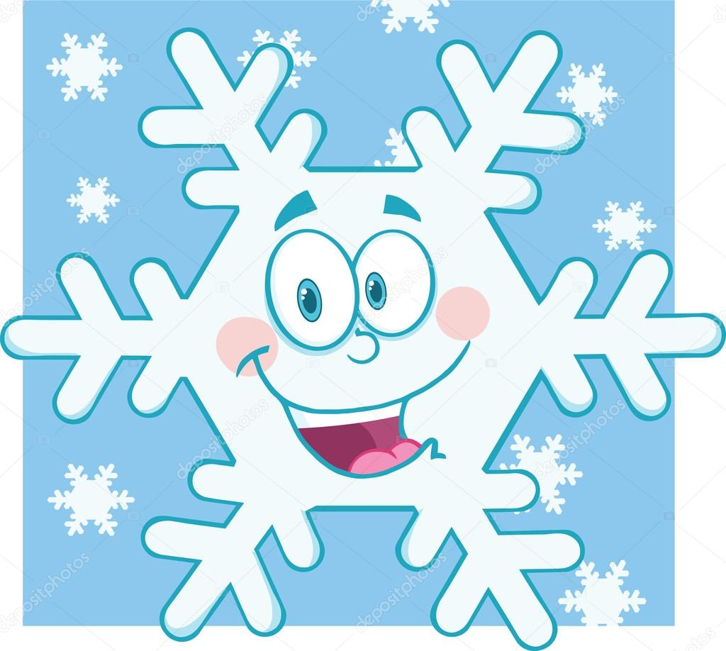 Snowflakes clipart comic. Snowflake cartoon mascot character