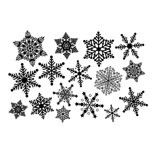 Snowflakes clipart group. Big size snowflake wall