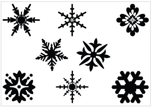Snowflakes clipart stencil. Snowflake black and white