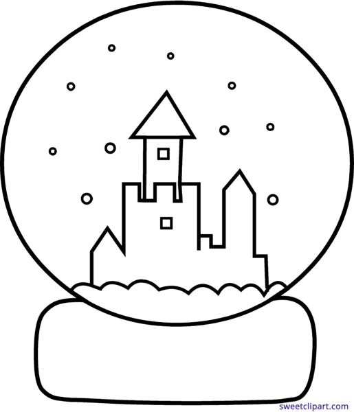 Snowglobe drawing city. Sweet clip art page