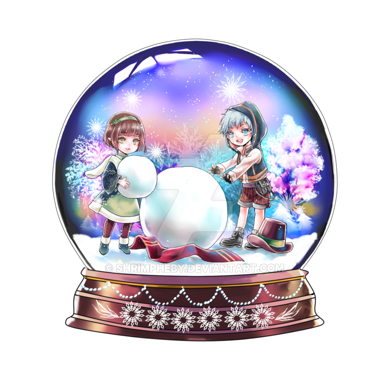 Snowglobe drawing color. Snow globe commission by